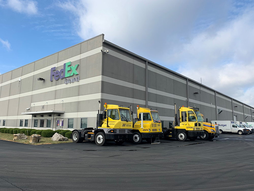 FedEx Building with Yellow Trucks