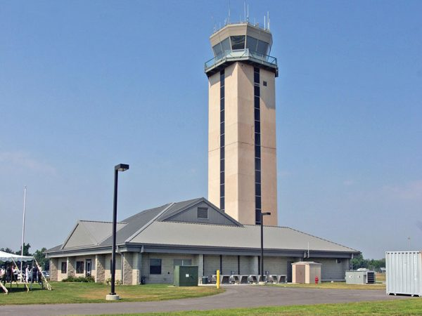Image of the aiport tower taken from the ground