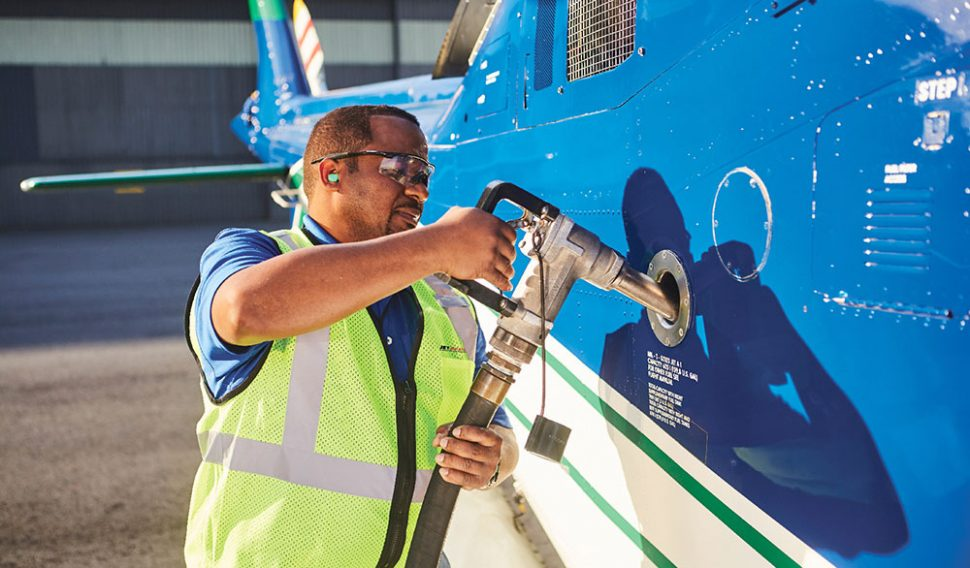 Working fueling an aircraft
