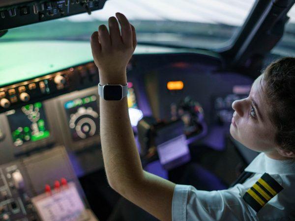 Pilot in a flight simulator