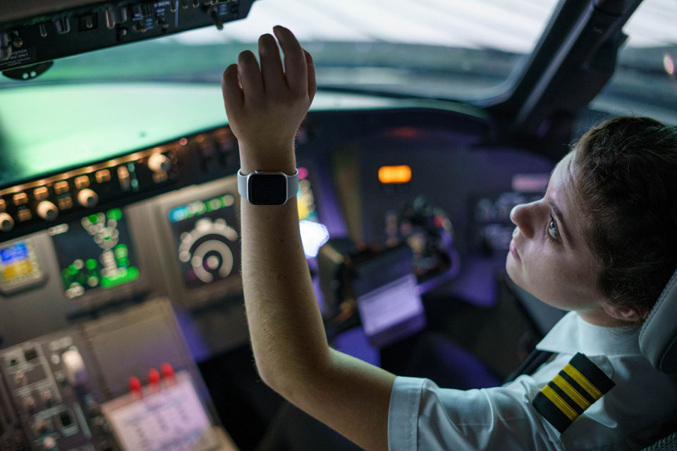 Pilot in a flight simulator